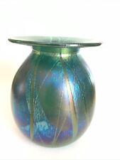 Studio Art Glass Globular Vase  Iridescent Green Blue