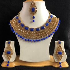 BLUE GOLD INDIAN KUNDAN COSTUME JEWELLERY NECKLACE EARRINGS CRYSTAL SET NEW 046