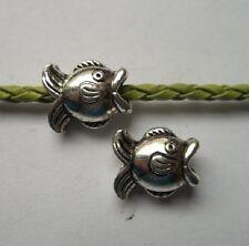 15pcs Tibetan silver big hole fish charms spacer bead 14x11.5x8 mm