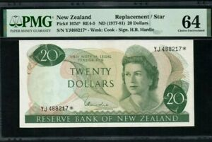 "1977 -81 NEW ZEALAND 20 Dollars "" REPLACEMENT"" PMG64 UNC [167d*]"