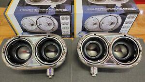 pair Peterbilt 359 379 Stainless Dual Headlight Housing W/ Inner Lamp Bucket new