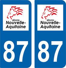 2 autocollants style immatriculation auto Département 87 NOUVELLE AQUITAINE