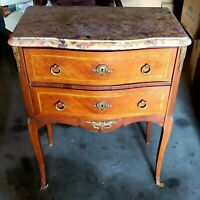 French Antique End Table with marble top