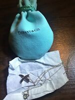 """Tiffany & Co. 925 Sterling Silver Paloma's X Kiss Pendant Necklace 16"""" w Pouch"""