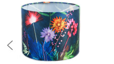 Drum Pendant 30cm Shade Tropical Fabric Indigo by Hazelwood Homes NEW (K)