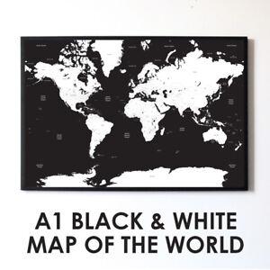Large Black & White A1 World Map Poster Print Travel Wall Art