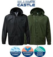 Mens Ladies WATERPROOF Rain JACKET Coat Comfort Lining NAVY GREEN S M L XL 2XL