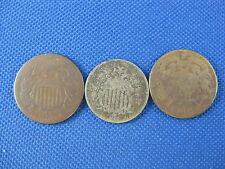 3 PC U.S. OBSOLETE COIN LOT 1866 W/R SHIELD NICKEL 1865 & 1869 TWO CENT