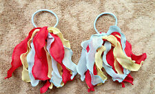 Gymboree Girls Hair Bobble / Tie x 2 - Light Blue, Red and Yellow, Brand New