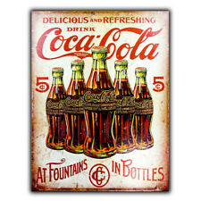 Coca Cola SIGN METAL WALL PLAQUE At Fountains In Bottles Retro Advert Coke