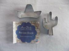 Saguaro Cactus + Sombrero Shaped Ann Clark Metal Cookie Cutters + Recipe Booklet