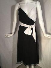 Betsey Johnson Evening Chiffon Black and White Dress With Rhinestone Buckle Sz S