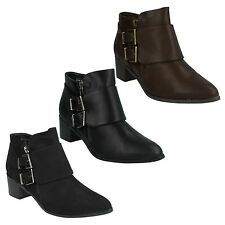 LADIES SPOT ON BUCKLE STRAP BLOCK HEEL ZIP UP CASUAL WINTER ANKLE BOOTS F50385