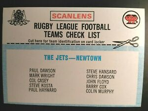 1977 SCANLENS RUGBY LEAGUE CHECKLIST - THE JETS, UNCHECKED CHECK LIST NRL