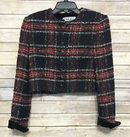 Carlisle Blazer Jacket Tweed Maynard Plaid Cropped Multicolor Wool Blend Sz 6
