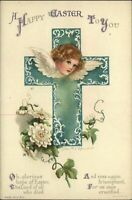 EASTER Turquoise Cross angel head white flowers Clapsaddle vintage postcard
