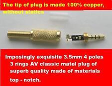 2PK 3.5mm 4 Pole Male Repair headphone Jack Plug Metal Audio Soldering & Spring