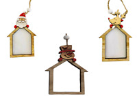 3 Pcs Home Shape Wooden Christmas Tree Hanging String Decorations Ornament Craft