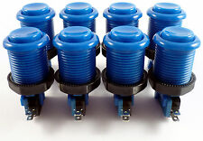 8 x 28mm Round Concave Happ Style Arcade Buttons & Microswitches (Blue) - MAME