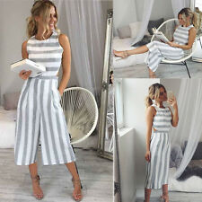 Sexy Women's Striped Sleeveless Jumpsuit Casual Clubwear Wide Leg Pants Outfit