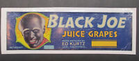 Advertising Vintage Label Sign Black Joe Juice grapes Ed Kurtz Lodi California