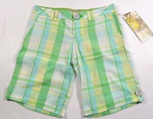 O'Neill FORGET ME NOT White Green Yellow Blue Plaid Bermuda Junior's Shorts