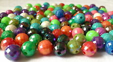 150  MULTI COLOUR PLASTIC ROUND FACET JEWELLERY MAKING BEADS CRAFTS 10mm AB0094