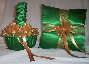 KELLY GREEN SATIN / GOLD TRIM FLOWER GIRL BASKET & RING BEARER PILLOW #2