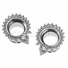 Diamond Zircon Water Drop Earrings Wedding Ear Tunnels Plugs Stretcher Gauge10mm