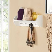 Danya B™ White Utility Shelf with Four Large Stainless Steel Hooks XF151018WH