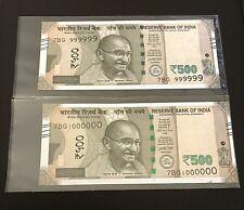 500 Rupees   Fancy Note Pair   Republic Of India   UNC