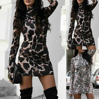 Womens Leopard Print Bodycon Mini Dress Ladies High Neck Party Evening Clubwear