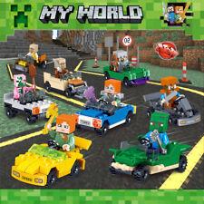 16Pcs Minecraft Motorcycle Set Mini Figure My World Series Fits Lego Blocks Toys