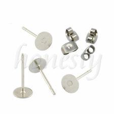 100pcs 4/6/8mm Flat Pad Plated Ear Nut Earring Post Stud + Scroll Back Findings