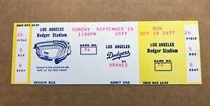 Steve Garvey HR #108 Home Run 1977 9/18/77 Dodgers Atlanta Braves Full Ticket