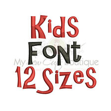 Kids Machine Embroidery Font - 12 Sizes - IMPFCD58