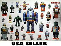Robots tin toys space toy POSTER 34 x 23.5 with 27 robots from 50s and 60s