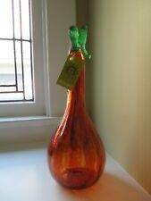 """New ListingKitras Art Glass 13"""" Pumpkin Gourd Orange Nwt Hand Crafted in Canada Fall Decor"""