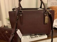 Coach Xl Ox Blood Leather Brooklyn Bag And Wallet New