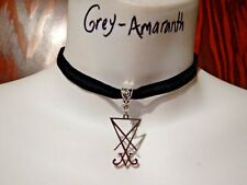 BLACK VELVET SILVER SIGIL OF LUCIFER CHOKER occult devil satanic necklace L3
