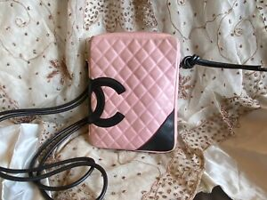 Authentic CHANEL PINK CC Logo Quilted Leather MESSENGER Tote Bag Purse C135