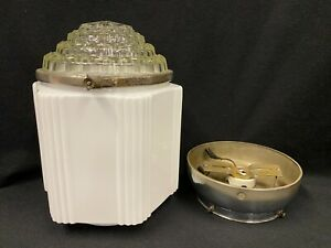 Vintage Antique Art Deco Skyscraper Light Fixture Globe Complete Milk Glass 2 Pc
