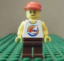 LEGO MINIFIGURE–TOWN CITY–SURFBOARD ON OCEAN, RED-BROWN LEGS–GENTLY USED