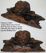 Rare Antique Black Forest Carved Inkwell, Instand: a Dog with Log Pen Tray