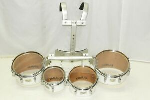 Yamaha Field Corps Marching Quads Tenors Tom Drums + Harness 8 10 12 13 White