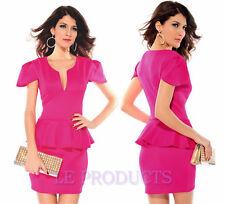 Womes New Bodycon Peplum Dress 10-16 UK Black White Pink Blue 24hr Dispatch