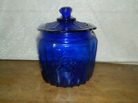 Canister Jar Container Storage Depression Style Glass Cobalt Blue Cookie Biscuit