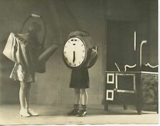 CHILDREN ACTORS PERFORMING A PLAY IN COSTUME ON STAGE TEAPOT/CLOCK VINTAGE PHOTO