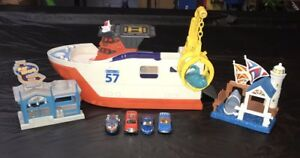 Matchbox Mission Marine Shark Ship Toy Floating Boat Rolls on Land And Extras