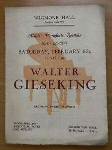 Walter Gieseking 1936 solo piano recital programme Wigmore Hall London